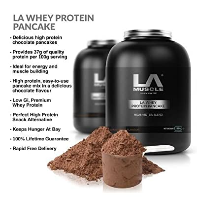 LA Whey Protein Chocolate Pancake 1.8kg, Delicious High Protein Snack, 37g protein per serving, easy to make, low GI oats and quality whey protein, special Amazon price, ORDER NOW-Special Amazon Price - Buy Now Before Prices go back UP!! from LA Muscle