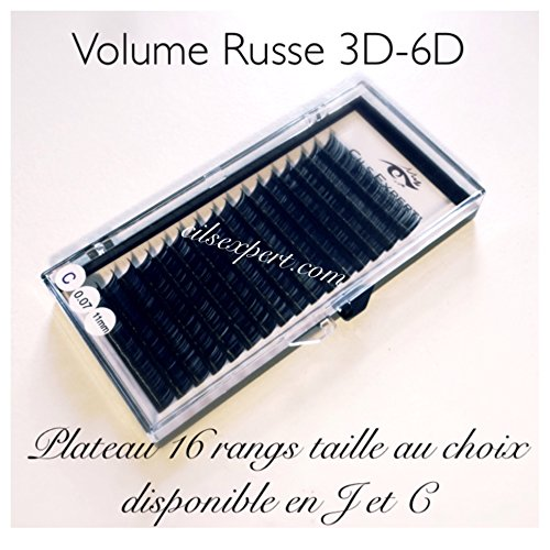 Extension de Cils Volume russe 0,07 forme C plateau 16 rangs de 7 à 14 mm