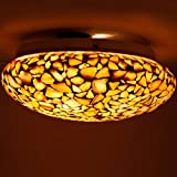 #9: Mozaic Lamps Glass Handcrafted Sea Shell Style Antique Ceiling Lamp without Bulb (Golden)