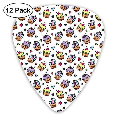 Celluloid Guitar Picks - 12 Pack,Abstract Art Colorful Designs,Pattern Of Cupcakes Various Toppings And Frostings And Colorful Hearts Love,For Bass Electric & Acoustic Guitars. -