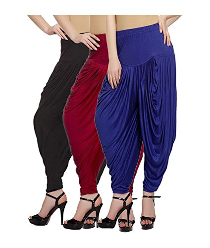 Fashion And Freedom Women\'s Viscose Dhoti (V_Red-Black-Blue__Red, Black, Blue_Free Size)