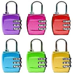 Cadenas Code Cadenas Valise Code Lock 3 Digit Combinaison Cadenas de Sécurité Luggage Locks pour valises de Voyage Bag Lockers Case Gym Backpack - Bleu, Rouge, Or, Rose, Violet, Vert (6 Pack)