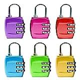 Zahlenschloss, 3-Stellige Kofferschloss Gepäckschloss Kombinationsschloss für Reisen Reisekoffer Rucksäcke Lockers Case Gym Backpack 6 Pack - Blau, Rot, Gold, Pink, Lila, Grün