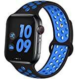 EXCHAR Bracelet de Rechange en Silicone Souple et Respirant pour Apple Watch Series 4 3 2 1 Nike + Tous Les Styles M/L Noir/Bleu