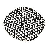 Lumanuby 1x Schwarz Dreieck Sitzkissen Rund Stuhlkissen Weich Baumwolle und Leinen mit Polypropylene Cotton Füllung Sitzauflage für Stuhl Sofa Bett für Zuhause Garten oder Café 40x40x8cm