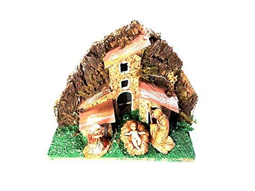 Mini presepe completo in miniatura 6x10 alto 9 cm con nativita 3 pastori plastica alti 3,5 cm sughero e legno napoletano pastori statuine presepe ricevi un portachiavi artigianali mar