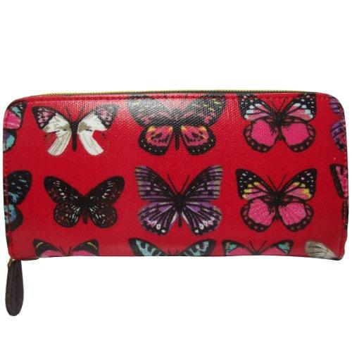 UKFS ragazze delle signore Nicole gufo / Farfalla Stampa olio panno borsa / raccoglitore / frizione (Farfalla Grigio) Farfalla Rossa
