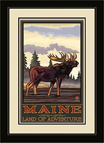 Northwest Art Mall pal-1802mfgdm BMSF Maine Land of Adventure bugeling Elch Seite Forest gerahmtes Wandbild Art von Künstler Paul A. lanquist, 13von 40,6cm