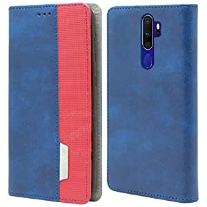 Jkobi Elegant Series Leather-Fiber Flip Case Cover for Oppo A9 2020 / Oppo A5 2020 -Blue