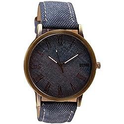 Toamen Unisexo Reloj De Pulsera Retro De Vaquero Reloj De Pulsera De Cuarzo AnalóGico De Cuero De Vaquero (E)