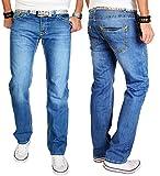 A. Salvarini Herren Designer Jeans Hose blau dicke weiß gelbe Nähte NEU 09 [AS009 - W29 L32]