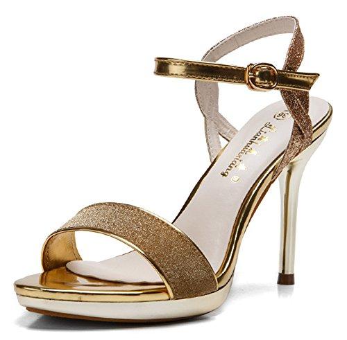 Aisun Damen Metallic Glitzer Offene Ferse Stiletto Sandalen Pumps Gold