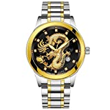 jieGREAT ❤❃ Armbanduhren Räumungsverkauf❤❃,Wasserdichte Männer Gold Dragon Sculpture Quarz Watch Luxury Men Steel Wristwatchby jieGREAT