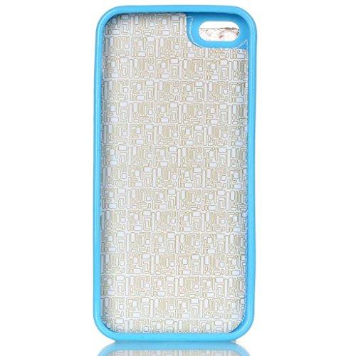 Evtech (tm) Azure simple cuir PU Folio Case Cover Back flip support c avec support de téléphone et la carte Slots pour iPhone 5s Motif-6