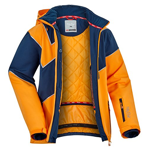 Fifty Five Saint Andrews Herren Skijacke Snowboardjacke ORANGE BLAU 3XL Warme Winterjacke mit Kapuze Winddicht Wasserdicht Atmungsaktiv (Orange Ski-jacke)
