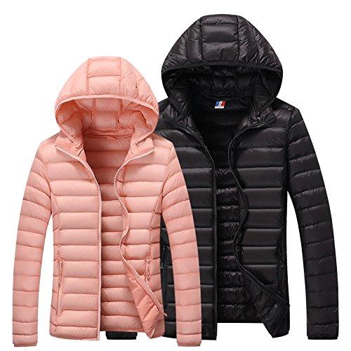 WTUS Manteau Veste A Capuche Zipped Jacket Trench Coat Femme Rose