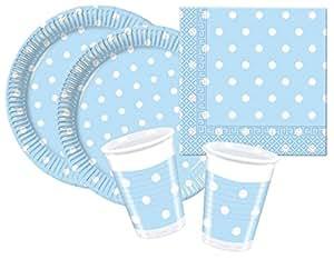 Procos 10105478 - Set di accessori per feste, motivo: azzurro a puntini, misura S