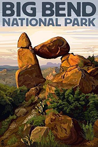 Big Bend National Park, Texas-Rock Formation Antik 9 x 12 Art Print multi