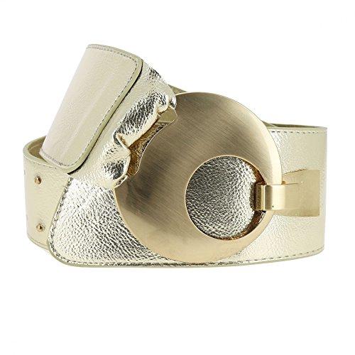 Fashiongen - Cinturón ancho VANESSA - Dorado brillante, XL a XXL / 95 a 115 cm