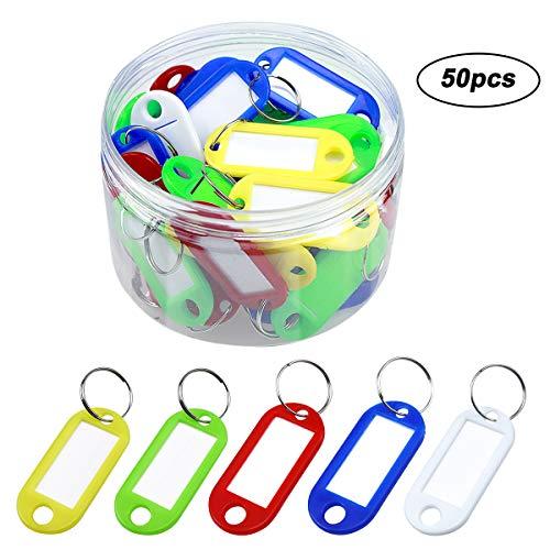 50pcs Etiquetas Llaves Plastico Llaveros ID Etiquetas con Papel Insertar y Anillos para Equipaje Identificación, 5 colores