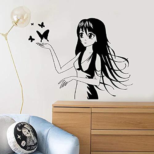 ONETOTOP Anime Mädchen Wandtattoo Lange Haare Comic Schmetterling Kinderzimmer Mädchen Schlafzimmer Künstler Dekoration Vinyl Fenster Aufkleber Wandbild