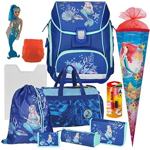 Spirit Mermaid Pro Light - Leicht-Schulranzen-Set mit BLINKENDEM LED-Schloss 11tlg. mit Sporttasche,Schultüte,Regensicherheitshülle, Heftbox - Meerjungfraufigur und Füller GRATIS