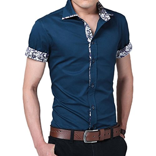 Men's Camisa Design Short Sleeve Formal Shirts purple