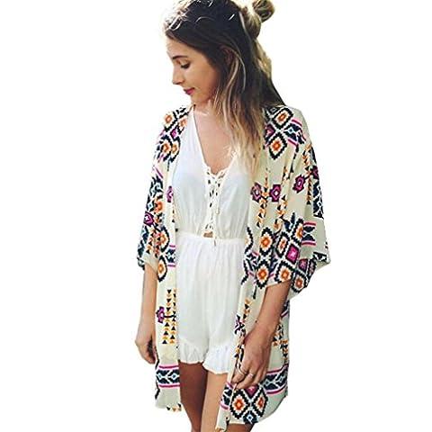 DOLDOA Frauen Geometrie gedruckt Chiffon Schal Kimono Strickjacke Tops Deckel Bluse (Größe: M Schulter zu den Hülsen: 50cm / (Erwachsen Netzstrumpfhose)