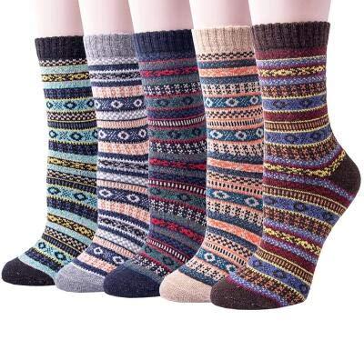Justay Damen-Socken im Vintage-Stil, weich, warm, dick, kalt, wolle, locker, gemütlicher Rundstrick, 5 Stück - - Einheitsgröße -