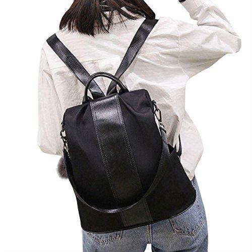 Alextry Damen Rucksack Schulranzen Schulranzen Wasserdicht Diebstahlschutz für Münzen, Geld, Karten, Bücher, Halter schwarz Schwarz