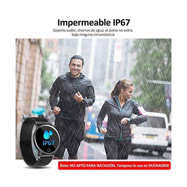 NAIXUES Smartwatch, Reloj Inteligente IP67 con Presión Arterial, 10 Modos de Deporte, Pulsómetro, Monitor de Sueño, Notificaciones Inteligentes, Smartwatch Hombre Mujer para iOS y Android (Negro) 7