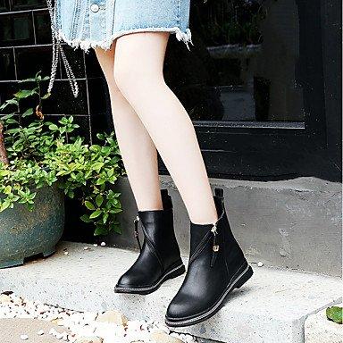 Gll & Xuezi Femmes De La Cheville Bottes Formelles Chaussures Pu Amphibiens (polyuréthane) Automne Casual Soirée Et Parti Formal Footing Zipper Bas Noir 2.5 - 4.5 Cm Noir