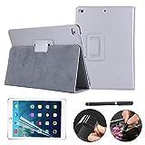 iPad 9.7 2017 Hülle Case Etui Tasche,REAL-EAGLE iPad A1822 Ledertasche case Schutzhülle Bumper Hüllen Tasche Leder Hülle Ultra Slim Lederhülle Flip Case Etui für iPad 9.7 Zoll 2017 (Silver)