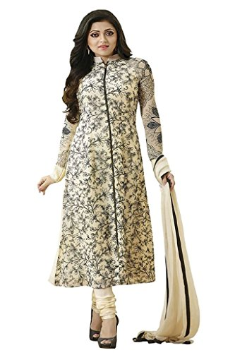Little lady Women's Printed Unstitched Regular Wear Salwar Suit Dress Material (LP_DM_OFFWHITE_119)  available at amazon for Rs.199