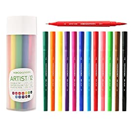 SCOOBOO 12 + 1 Dual tip Brush pens and Fine-liners set