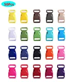 HONGCI 50pcs Seitliche Freigabe-Plastikmini Schnallen 3/8 Zoll für Paracord Armbänder, Hundehalsband, Gurtband, Bushcraft, Rucksack-Zusätze, Zelt (Freie Farbe)