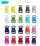 HONGCI 50PCS 20,3 cmprofilati laterali in plastica a sgancio rapido Mini fibbie da 3/8 di pollice per bracciali Paracord, collare per cani, cinghie, bushcraft, accessori per zaini, tenda (multicolore)
