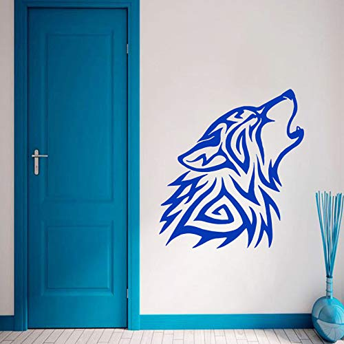 Kostüm Unternehmens Tanz - Geiqianjiumai Art Design Home Decor Abnehmbarer Wolf Wandaufkleber Abnehmbarer Home Decor Blau 58cmX63cm
