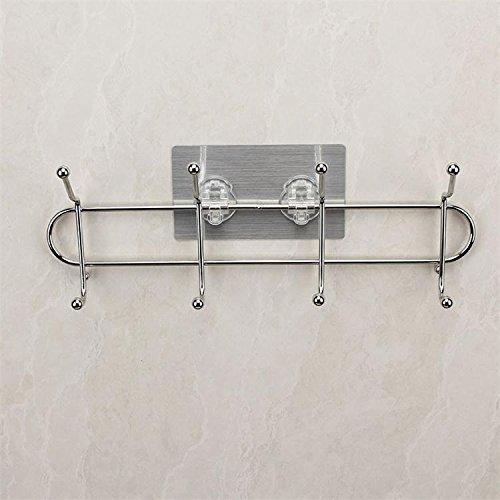 CLG-FLY Tappo in acciaio inossidabile gancio appendiabiti chiodo-libera porta armadio rack di storage bagno gancio libero del mandrino di potenza,acciaio inox quattro-gancio