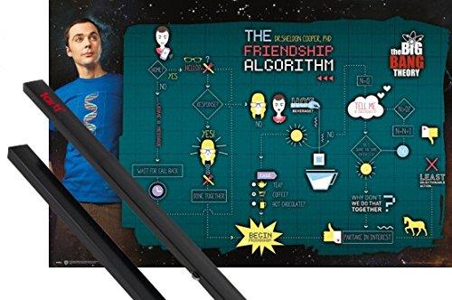 1art1® Poster + Suspension : The Big Bang Theory Poster (91x61 cm) Friendship Et Kit De Fixation Noir