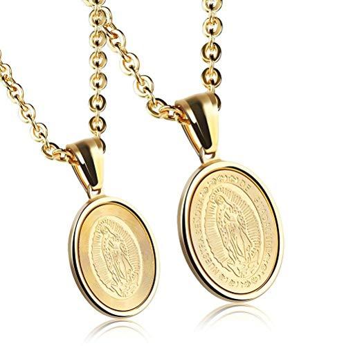 MingXinJia Titanstahl-Religiöse Jungfrau Maria-Tag-Paar-Halsketten-Persönlichkeits-Beschriftung, Gold, L