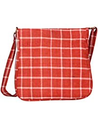 Kalamargam Collective Andhra Cotton & Vegan Leather Sling Bag (Multi-Coloured, KC-SB66)