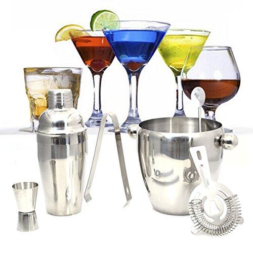 Costway Cocktailshakerset Cocktailmixerset Bar-Cocktailset 6-teilig Edelstahl