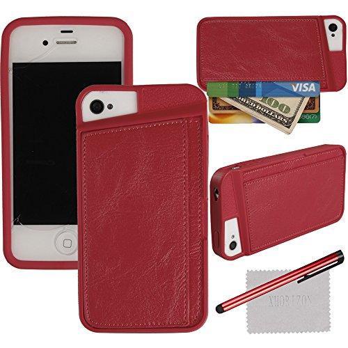 xhorizon TM Anti-choc bonbons de couleur PU en silicone cuir carte de crédit souple Portefeuille etui coque housse Cover Case Holder pour iPhone 4/4S (Rouge) Rouge