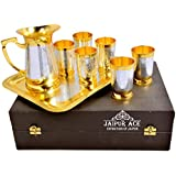 Jaipur Ace Silver And Gold Plated Pure Brass Water Glass/Lemon Set With Beautiful Jug