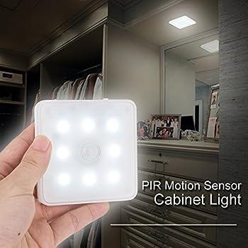 Senweit Pack Of 1 PIR Motion Sensor Ultrathin LED Night 8Leds Light Closet  Lamp USB Rechargeable Sensor Sensing Activated Day White Li Ion Battery  Powered ...