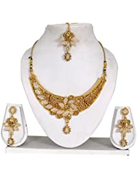 Vipin Store White Pearl Beads And Golden Stone Gold Plated Jewelery Set
