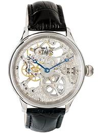 Davis 0890 - Montre Squelette Homme Mouvement Mecanique Bracelet en Cuir Noir