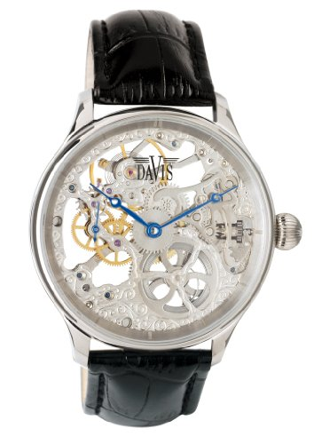 Davis 0890 - Mens Skeleton Watch Hand wind Mechanical Movement Black leather Strap