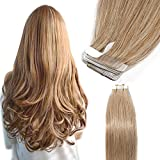 40 Pcs Extension Adhesive Cheveux Naturel Bande Adhesive Extension - Remy Human Hair Tape In Hair Extensions (#27 BLOND FONCE, 40CM - 100g)